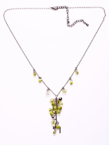 ZX44 DELICATE DARK METAL ADJUSTABLE NECKLACE W CUTE CLUSTER OF LIME GREEN BEADS