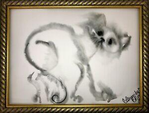 Margarita-Bonke-Malerei-zeichnung-POP-art-drawing-black-schwarz-katze-cat-A3