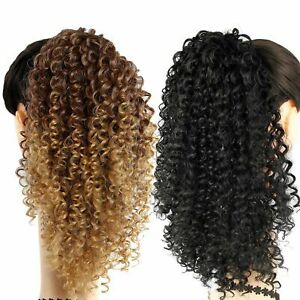 Afro-Kinky-Curly-Ponytail-Ombre-Synthetic-Drawstring-Short-Hair-Bun-Extensions