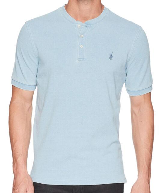 Polo Ralph Lauren Mens Light Blue Striped Cotton Polo Shirt BIg Tall 2XB 3913-3M