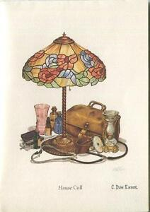 VINTAGE-ANTIQUE-TIFFANY-GLASS-LAMP-STETHOSCOPE-MEDICINE-BOTTLES-NOTE-CARD-PRINT