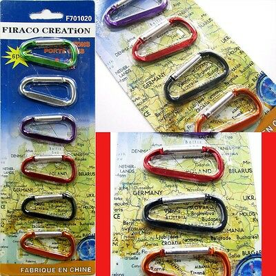 6 PCS / Pack Carabiners Travel Outdoor Climbing Hook Keychain Hiking Clip Lock
