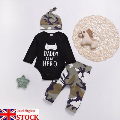 UK Newborn Toddler Kids baby Boys Daddy Is My Hero Camouflage Outfits Clothes