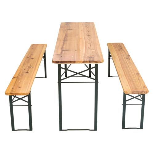 Meuble de jardin ensemble de 3 pièces de fête table et bancs bois terasse