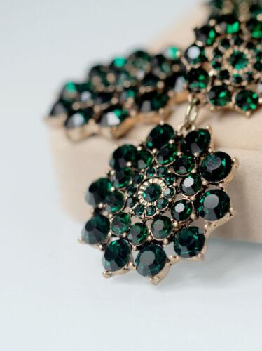 Boucles d`Oreilles Clips Pinces Floral Vert Emeraude Baroque Mariage Vintage J8