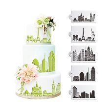 5pcs Plastic Civic Architecture Stencils for Cake Fondant Cake Decorating Tool