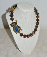 $260 Heidi Daus sparkling Scarab Serpentine Bead Blue Scarab Necklace