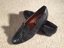 Ennesi Genuine Lizard Skin Black Tassel Loafers - Sz. 8.5