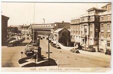 Real Photo Postcard Civic Center in Spokane, Washington with Early Autos