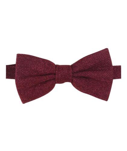 Mens Kids Boys Matching Herringbone Tweed Dickie Bow Tie in Burgundy
