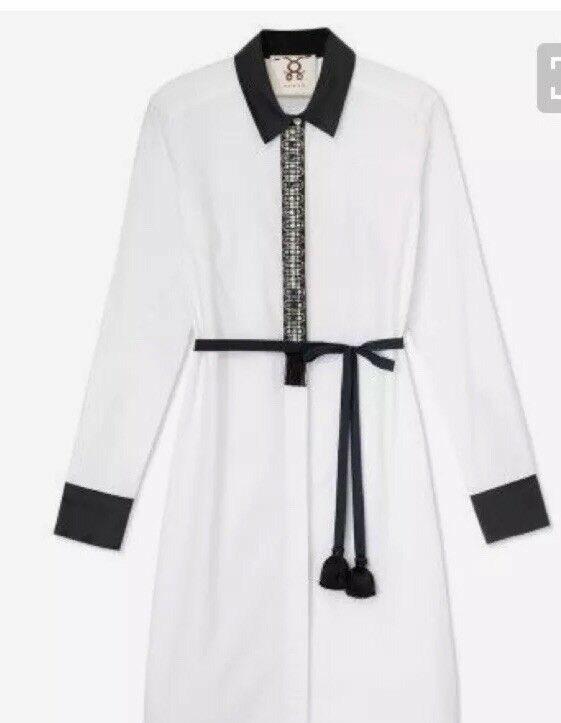 500 Figue Brand Giselle Gypsy Belted Belted Belted Shirt Dress Ethnic Embellished LUXE Career 8bb140