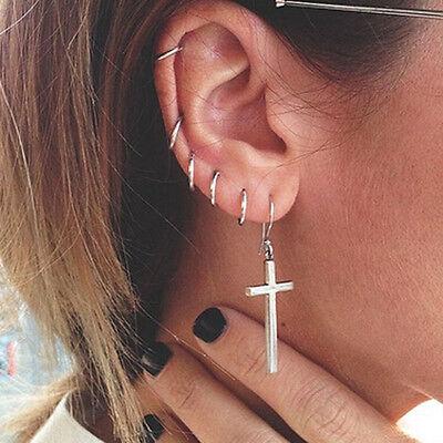 New Womens Jewelry 925 sterling silver Round Hoop Dangle Earrings Studs Fashion