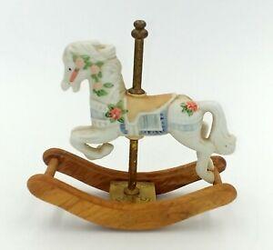 Vintage-1993-Giftec-Carousel-Horse-Figurine-Ceramic-Brass-Wood-4-1-2-034-x-5-034-x-2-034