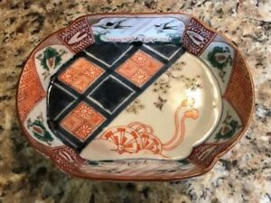 Cute-Antique-Japanese-Small-Oval-Imari-Footed-Bowl-Ornate-Nice
