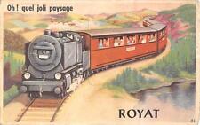 CPA 63 ROYAT JOLIE CPA A SYSTEME AVEC PLUSIEURS VUES FIGURANT UN TRAIN OH! QUEL