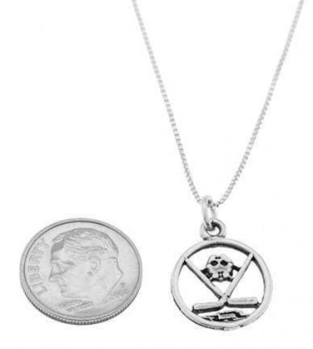 STERLING SILVER DISC CUT OUT HOCKEY MASK AND STICK CHARM WITH BOX CHAIN NECKLACE