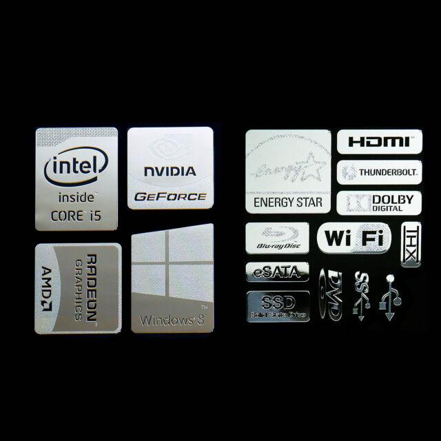 combo Type B Intel Core i5 Logo Metal Decal Sticker NVIDIA Radeon Energy star