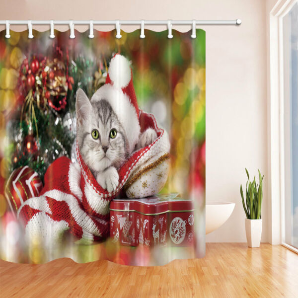 Happy Xmas Cat Wear Hat Bathroom Shower Curtain Set Fabric 71In 12 Hook Hover To Zoom