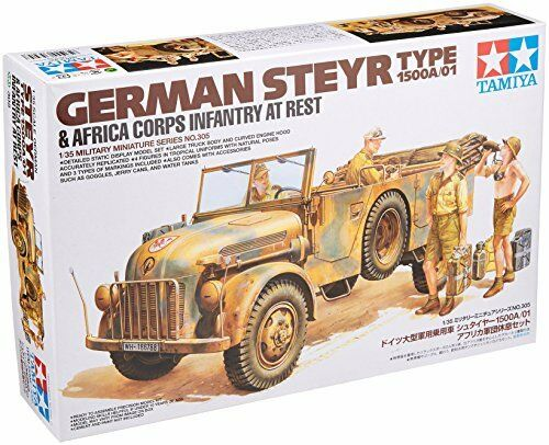 TAMIYA 1 35 German Steyr Type 1500A 01 & Afrika Corps Infantry at Rest Kit NEW