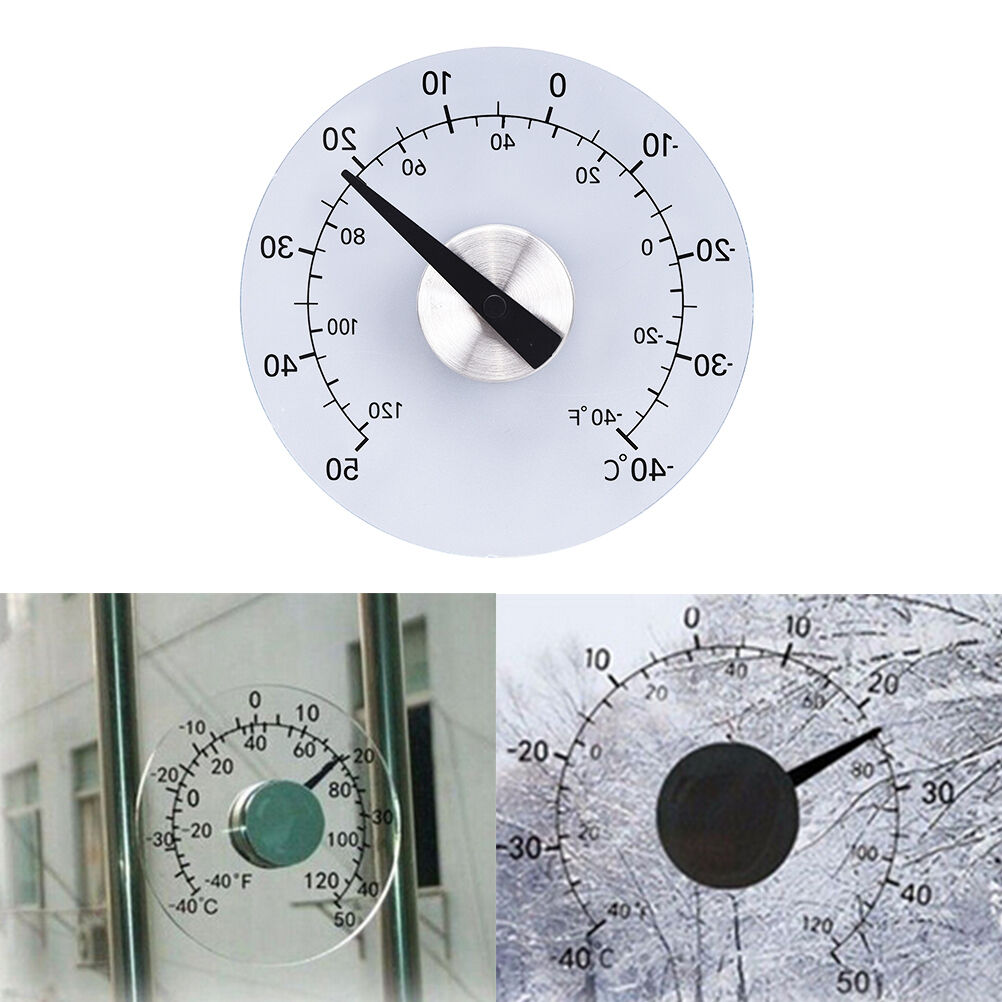 Clear ℉ ℃ Circular Outdoor Window Temperature Thermometer Weather Station QP
