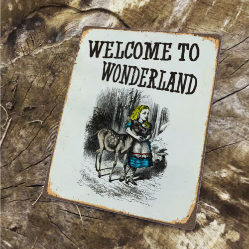 Alice Welcome To Wonderland VINTAGE ENAMEL METAL TIN SIGN WALL PLAQUE