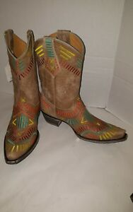 more photos 98582 993c1 Details about Old Gringo Apache Stitch Tan Leather/Embroidered Cowboy Boot  Wm Sz 7M New W/Tags