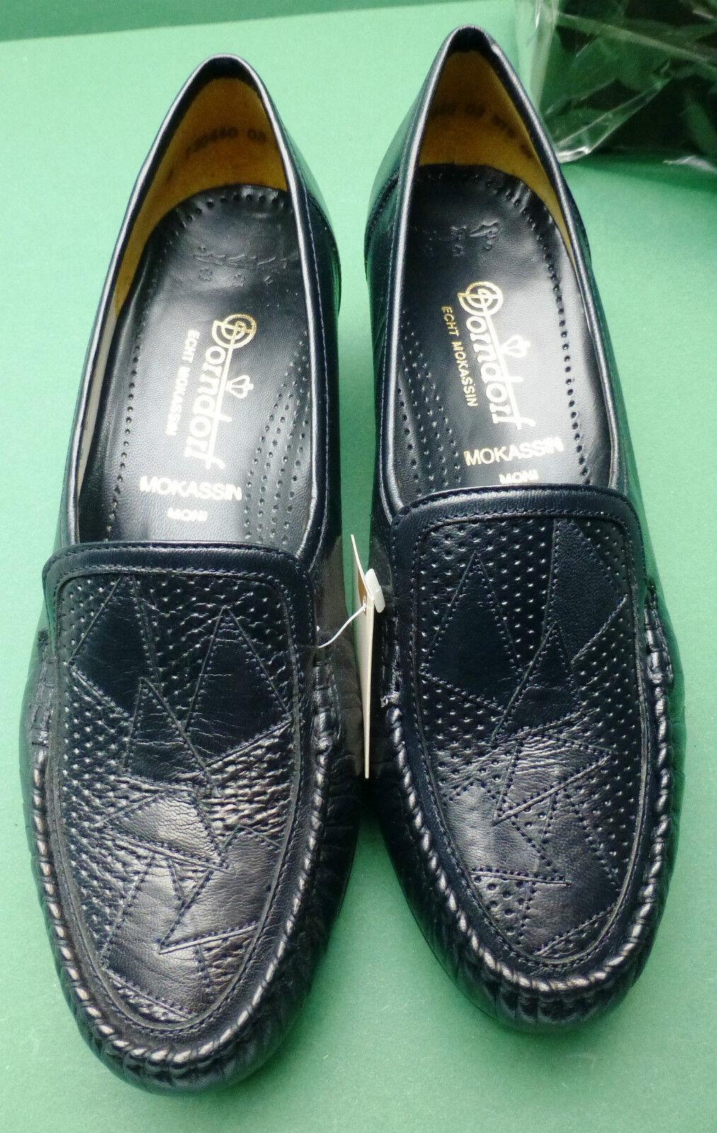 #5276# Schuhe Mokassins Gr.6G/39G baltikblau Leder  von Dorndorf Golfchevreaux