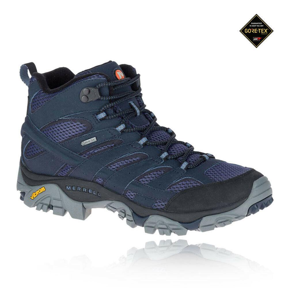 Merrell Hombre Moab 2 Mid Gore-tex Caminar botas Azul Marino Deporte Exterior