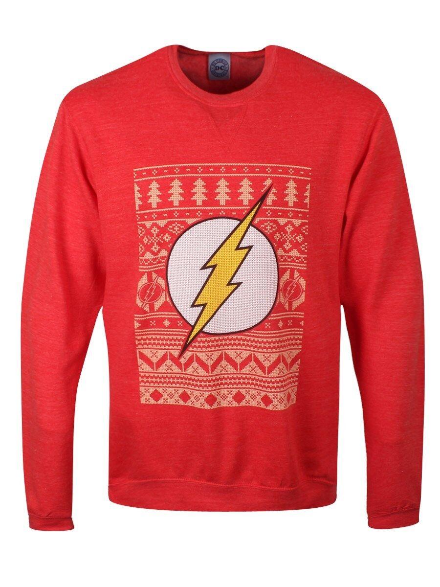DC Comics Sweater Homme Flash Noël Sweat-shirt Homme Sweater Rouge 897e1b