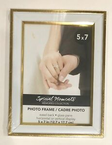 Photo-Frame-5x7-Special-Moments-Memories-Collection-NEW-White-With-Gold-Trim