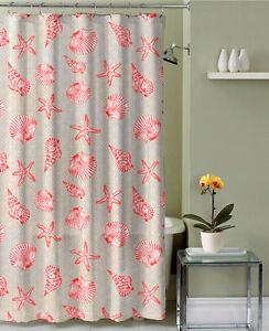 Shower Curtain Canvas Fabric Beach Seashell Starfish Design Ebay
