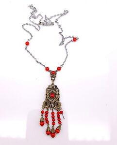 Art-Deco-Czech-Coral-glass-filigree-pendant-necklace