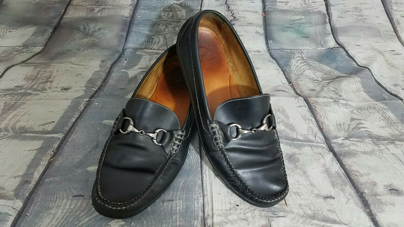 Peter Millar Men's Black Horse Bit Leather Slip On Penny Loafers Sz 11 EUC