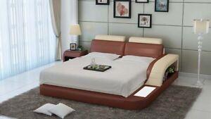 Détails sur Rembourrage Design De Luxe Lit Lits Cuir Moderne Chambre À  Coucher 140/160/180
