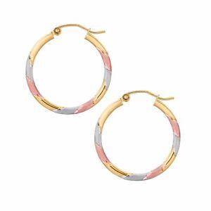 New 10 Karat Tri Color Gold Round Tube Hoop Earrings Pure 10k 10 K
