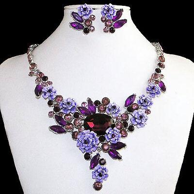 Purple Flower Cluster Drop Necklace Earring Set Austrian Crystal Enamel Women