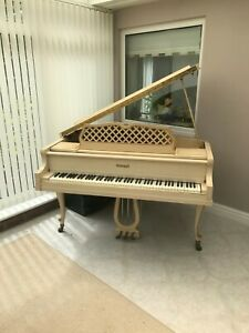 Rare-Kimball-USA-Rococo-Style-Baby-Grand-Piano-White-Cream-Gold-DELIVERY-INC