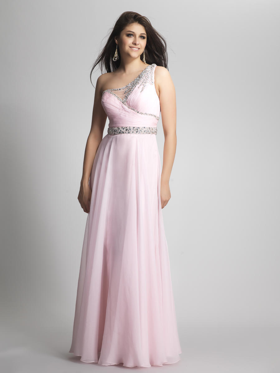 Dave & Johnny 8567 Women's Sparkly Ice Pink Dress Long Gown, Size 2