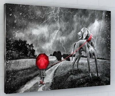 ABSTRACT GIRL RED UMBRELLA DOG CANVAS PICTURE PRINT WALL ART 398