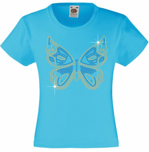 Personalised Butterfly Rhinestone//Diamanté Embellished T shirt gift for girls