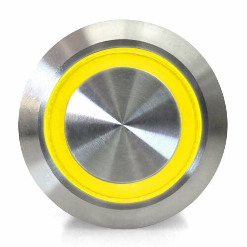 19mm Latching Billet Button with LED Yellow Ring AutoLoc AUTSW43Y rat muscle