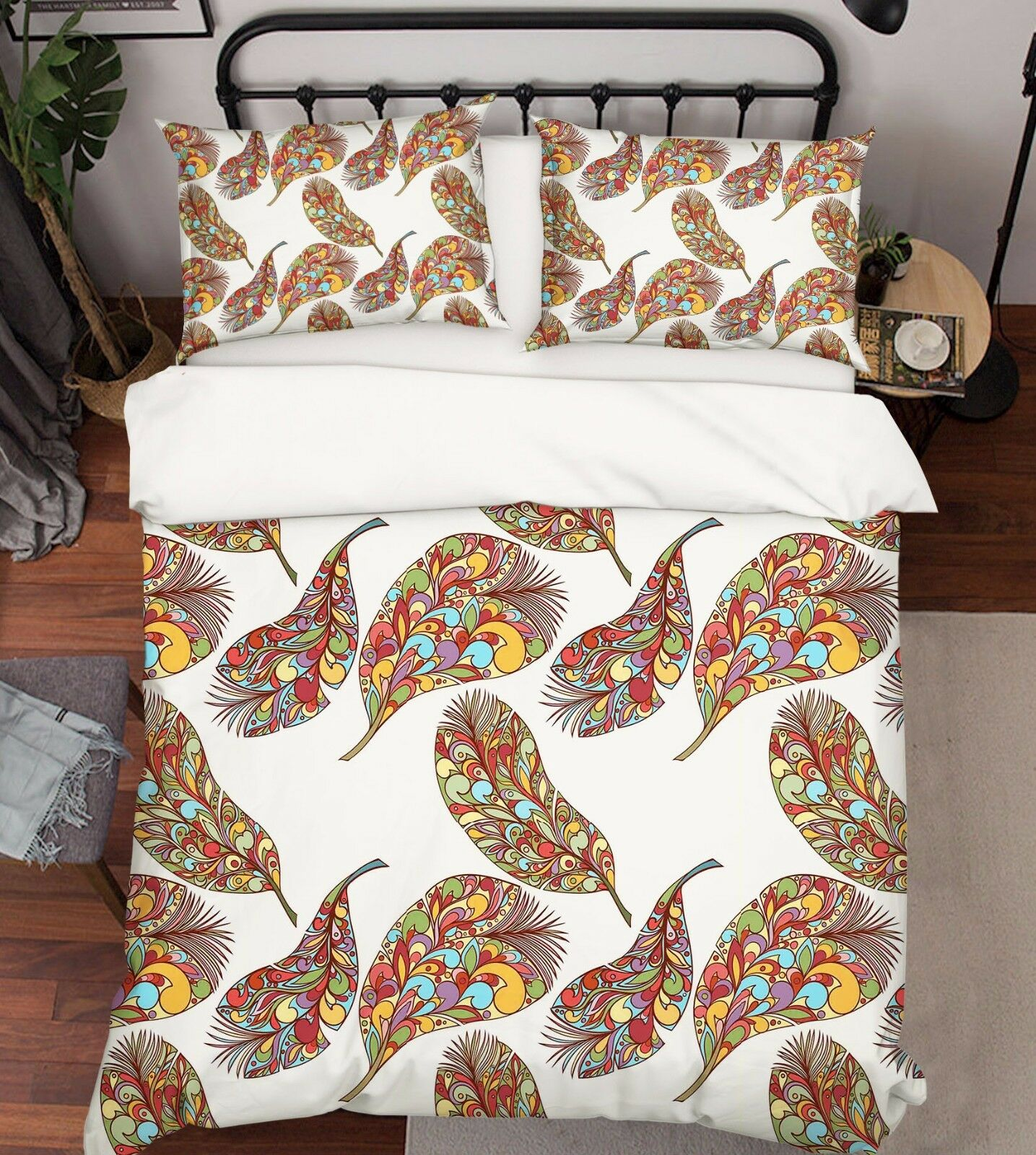 3D Nice Feathers Bed Pillowcases Quilt Duvet Cover Set Single Queen King Size AU