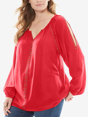 ref 327 WOMAN WITHIN LADIES STUD EMBELLISHED COLD SHOULDER TOP CORAL NEW