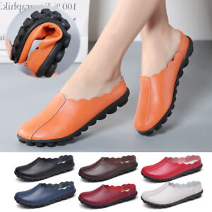 Womens-Ladies-Flats-Loafers-Mocassins-Shoes-Comfy-Casual-Leather-Shoes-UK-2-5-8