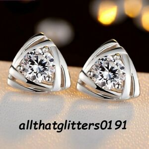 Silver-Plated-4mm-Clear-Zircon-Earrings-Boxed-Ideal-For-A-Gift-Mother-Wife