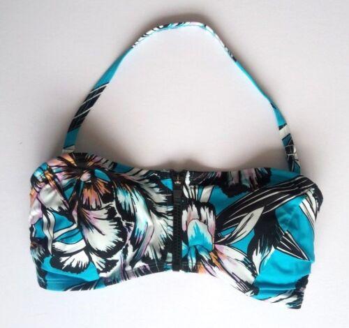 M/&S Sport Cerniera Bikini Blu Nero A Fiori Taglia 10 Halter Neck Imbottito Nuovo