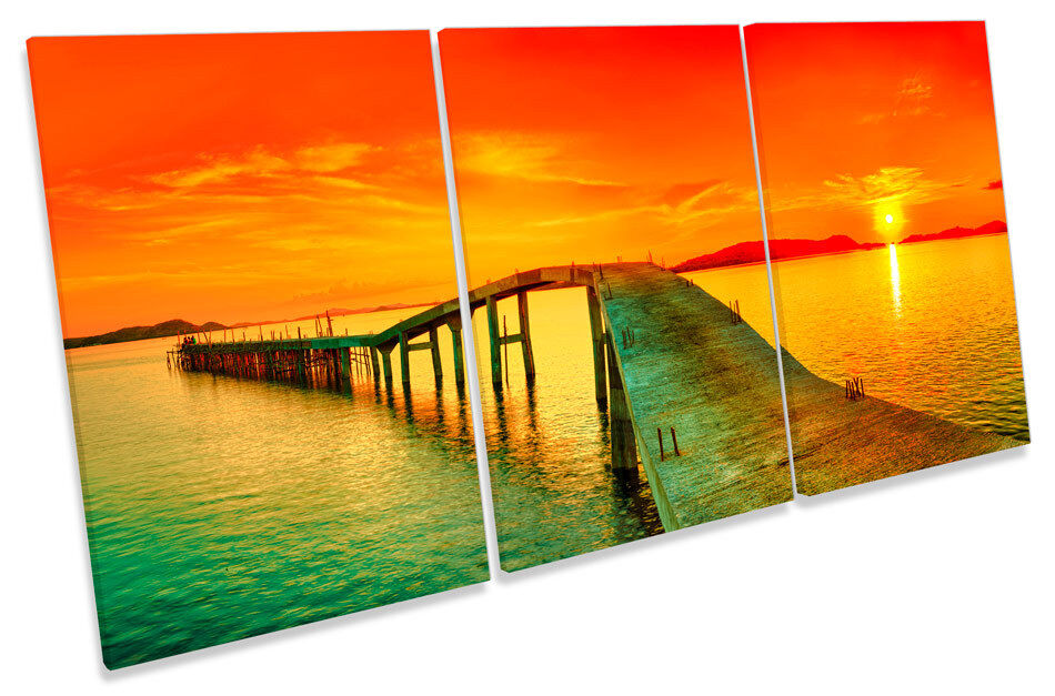 Sunset muelle embarcadero paisaje arte TREBLE LONA pared arte paisaje Foto impresión 4214f0
