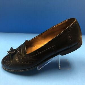 Mens-Cable-amp-Co-Black-Leather-Tassel-Loafers-Shoes-Size-9-D-Italian-B