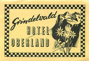 GRILDELWALD SWITZERLAND HOTEL OBERLAND LUGGAGE LABEL