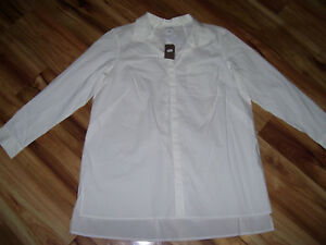 NWT-WOMENS-J-JILL-PLUS-SIZE-2X-WHITE-LONG-SLEEVE-BUTTON-DOWN-SHIRT-V-NECK-99